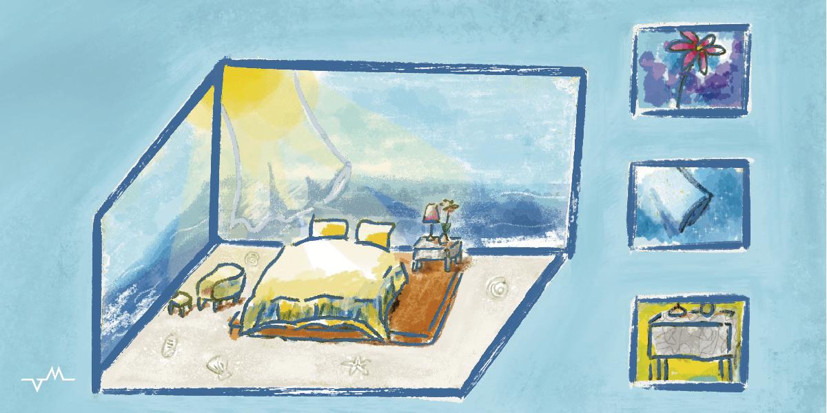 歐式簡約月白海景房